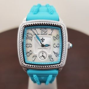 Judith Ripka Turquoise Rubber Strap Womens Watch